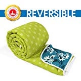Divine Casa Microfibre Comforter/Blanket/Quilt/Duvet Lightweight, All Weather Single Comforter, Floral- Turquoise Blue and Lime Green