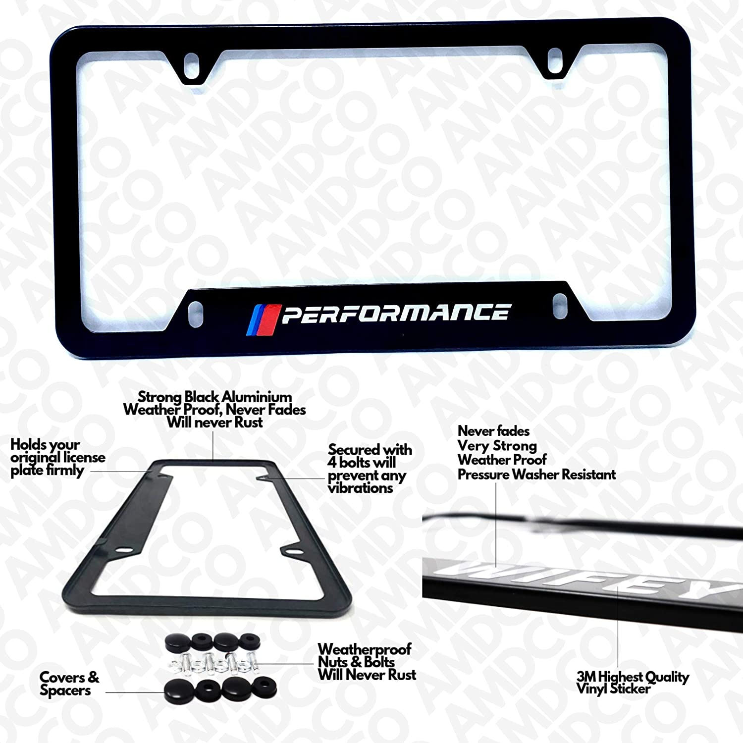 License Plate Cover Holder Frame Badge Stickers Decals with Strong 3M Includes Instructions Measure Before Purchase Fitment fit for m2 m3 m4 m5 m8 x3 x4 Performance Black Pack of 1 AMD