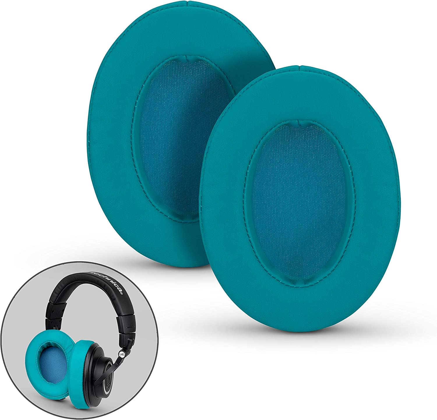 Brainwavz Ear Pads for ATH M50X, M50XBT, M40X, M30X, HyperX, SHURE, Turtle Beach, AKG, ATH, Philips, JBL, Fostex Replacement Memory Foam Earpads & Fits Many Headphones (See List), Turquoise