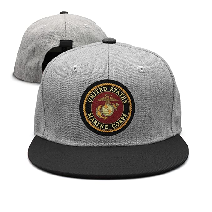 5f6f9202b41 Image Unavailable. Image not available for. Color  Flat-Brim Baseball Caps  USMC-Eagle Globe and Anchor Snapback Unisex Adjustable Hat