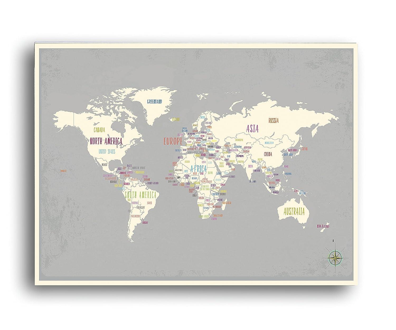 World Map 24x18 Print, Kid's Wall Art World Map, Kid's Wall Art Print, Kid's Travel World Map, Customized Roots Map, Nursery Décor, Nursery Wall Art, Geography Themed Nursery Décor, Heritage Map