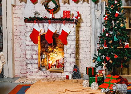 Christmas Images Free To Use.Kate 10x6 5ft 3x2m Christmas Photography Backdrops White Brick Fireplace Background For Photo Studio Green Christmas Tree Backdrop Wrinkles Free