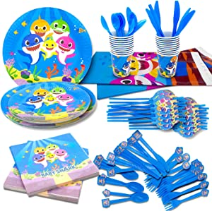 "Pandecor Baby Cute Shark Party Supplies -Serves 20 Guests- Little Shark Tableware Party Decoration Includes Table Cloth 7""Plate 9""Plates Napkins Cups Forks Knives Spoons Straws"