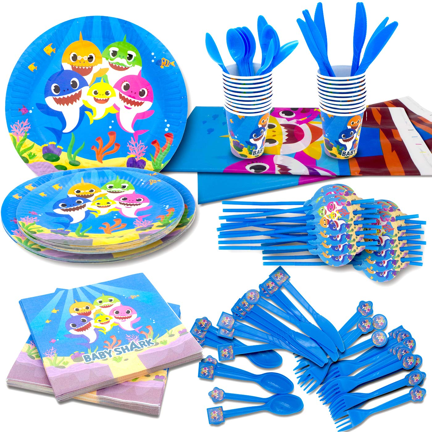 Cute Shark Party Supplies,182 Pieces Little Shark Party Decoration,Includes Table Cloth 7''Plate 9''Plates Napkins Cups Forks Knives Spoons Straws, Serves 20 Guest