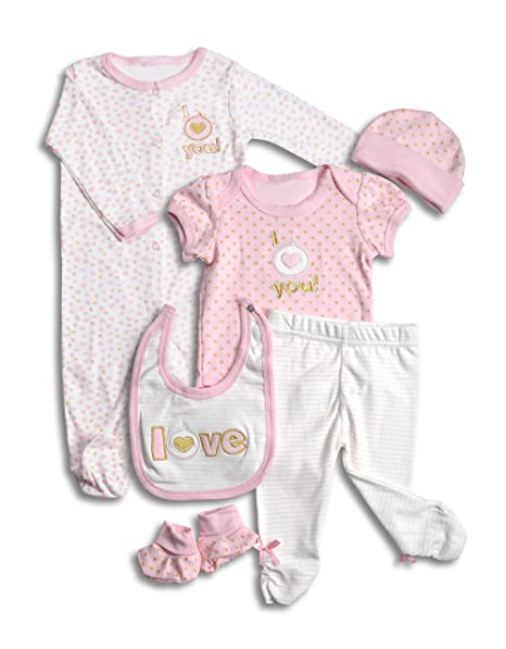 c77bd5566 Amazon.com: Layette Set, 6 Piece Baby Essentials for Newborn Unisex Gift  Boys and Girls: Clothing
