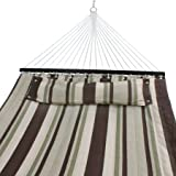 Nova Microdermabrasion Hammock Quilted Fabric with Pillow Double Size Spreader Bar Heavy Duty Portable Outdoor Camping Hammock For Outdoor Patio Yard (450lbs Capacity)