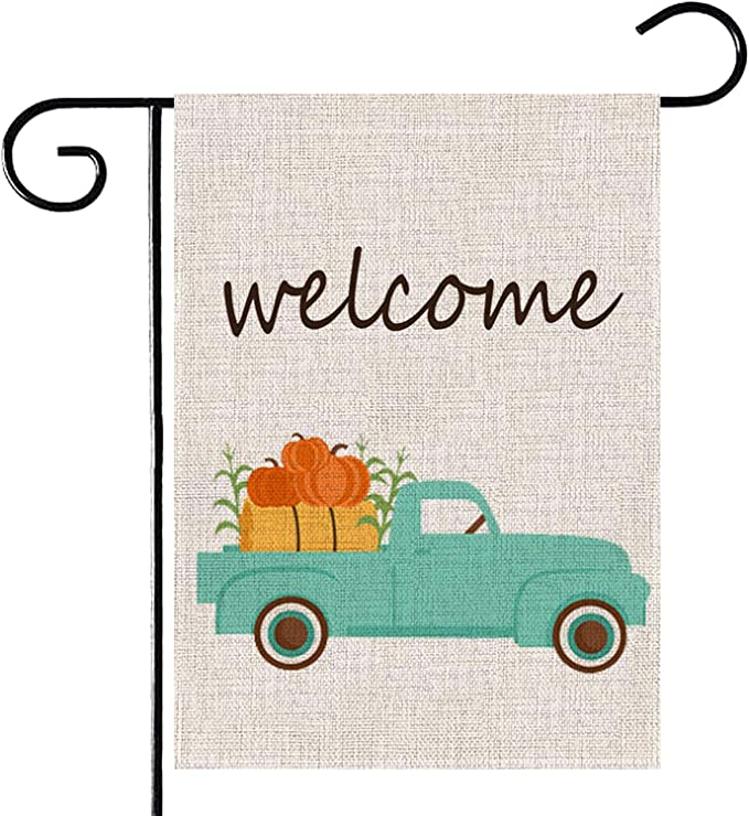 Welcome Fall Pumpkin Car Garden Flag-Double-Sided Thanksgiving Autumn Yard Burlap Banner,Flag for Fall,Indoor & Outdoor Decoration