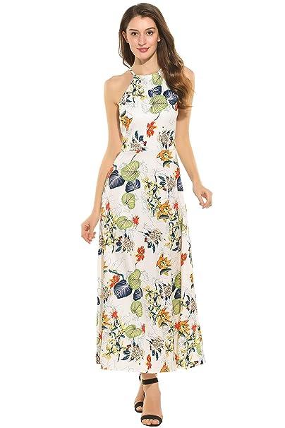 Meaneor Vestido Largo Mujer Espalda Descubierta para Verano Elegante Amarillo S