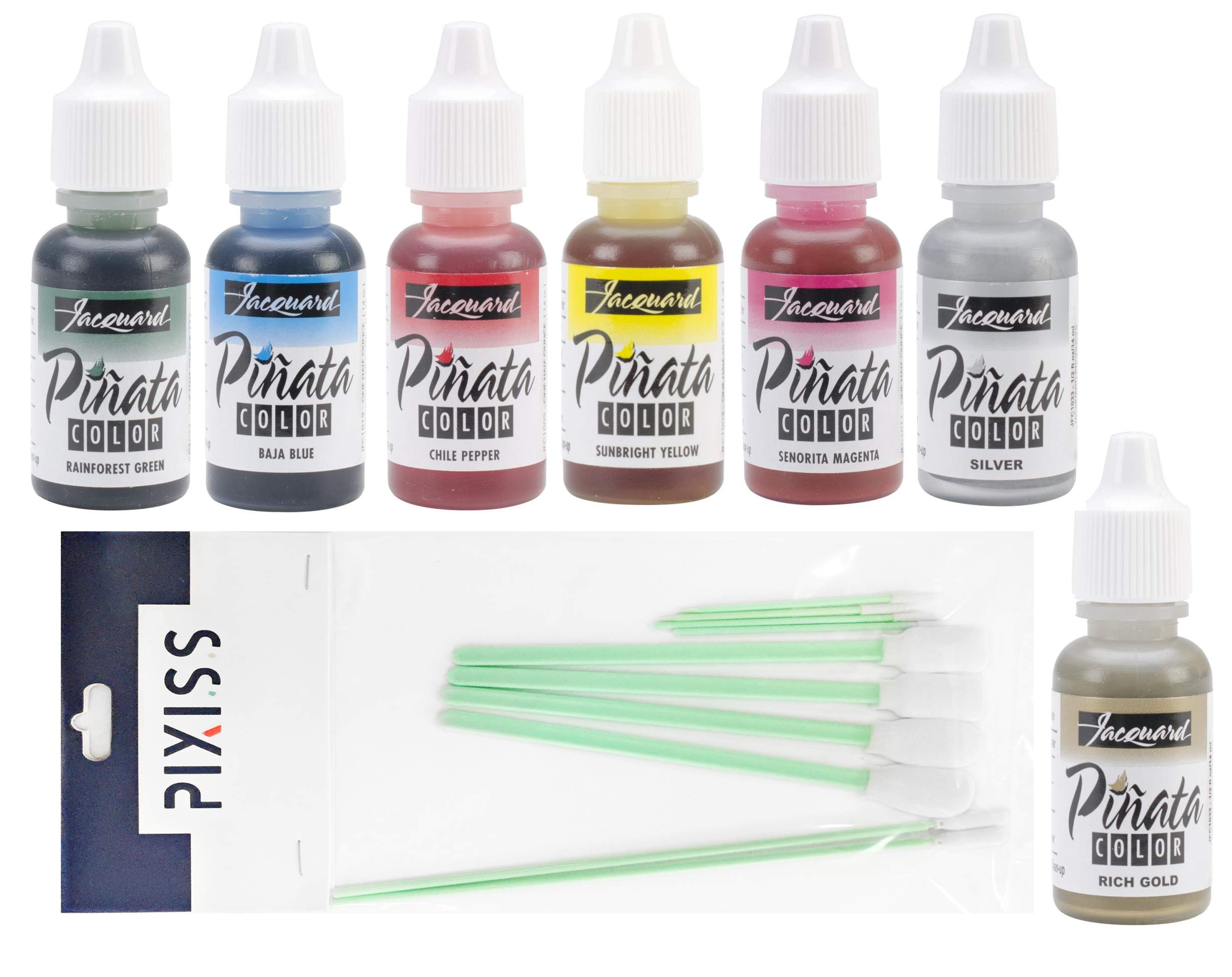Jacquard Pinata Alcohol Inks 7 Pack Bundle, Silver, Rich Gold, Senorita Magenta, Sunbright Yellow, Chili Pepper, Baja Blue, Rainforest Green and 10X Pixiss Ink Blending Tools by GrandProducts