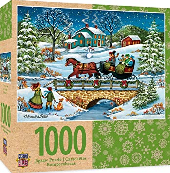 Amazon.com: MasterPieces Seasonal Over the River Winter Holiday Scene Jigsaw Puzzle by Bonnie White, 1000-Piece: Toys & Games