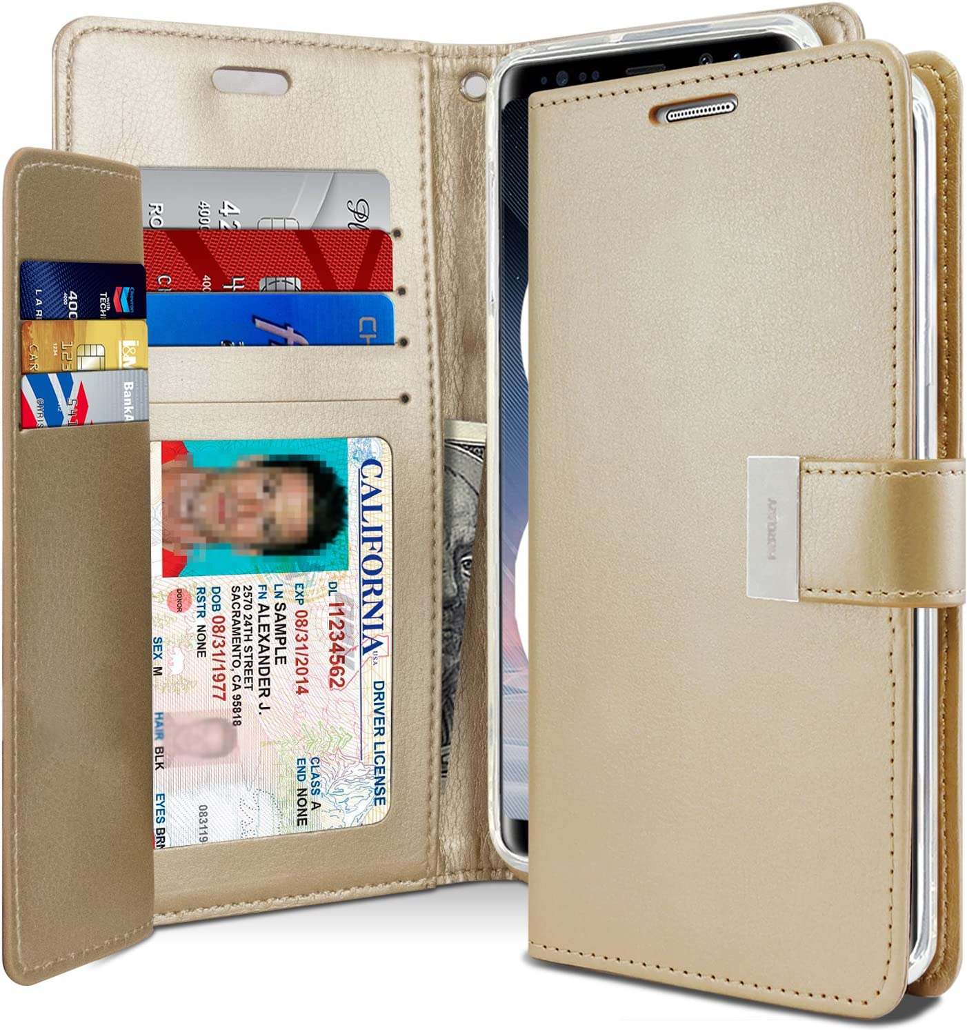Goospery Rich Wallet for Samsung Galaxy Note 8 Case (2017) Extra Card Slots Leather Flip Cover (Gold) NT8-RIC-GLD