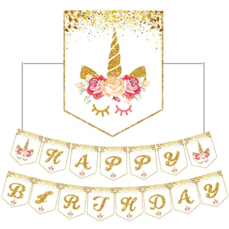 Pink with Gold Unicorns /& Stars Bunting