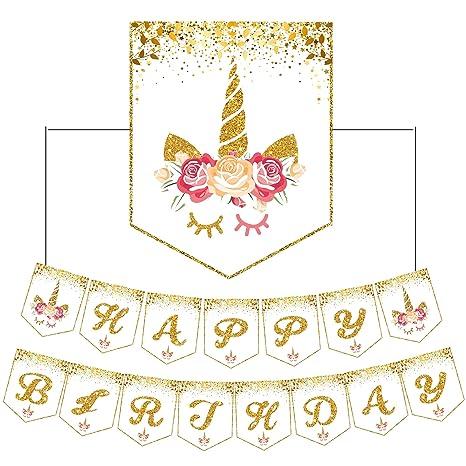 Happy Birthday Banner unicornio Decoraciones de Feliz Cumpleaños empavesado Banner Holográfico Banderines bandera para Decoraciones del