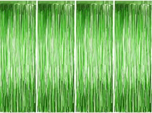 4 Pack Photo Booth Backdrops Foil Curtains Metallic Tinsel Backdrop Curtains Door Fringe Curtains for Wedding Birthday Christmas Halloween Disco Party Favour Decorations (Matt Green)