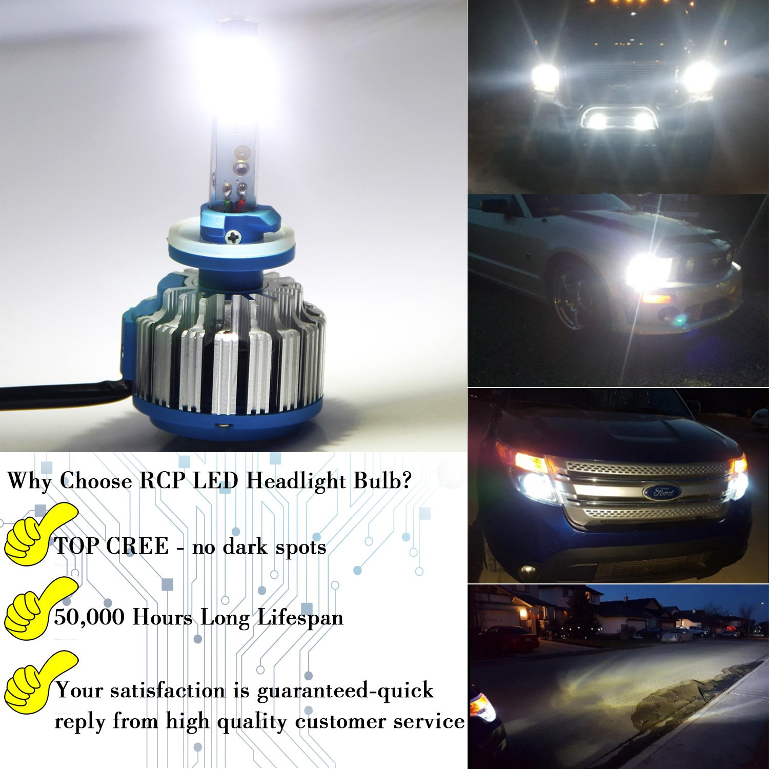 - 70W 7200Lm White - 2 Year Warranty 6,000K LED Headlight CREE Bulbs Conversion Kits 1 Pair Canbus RCP H3
