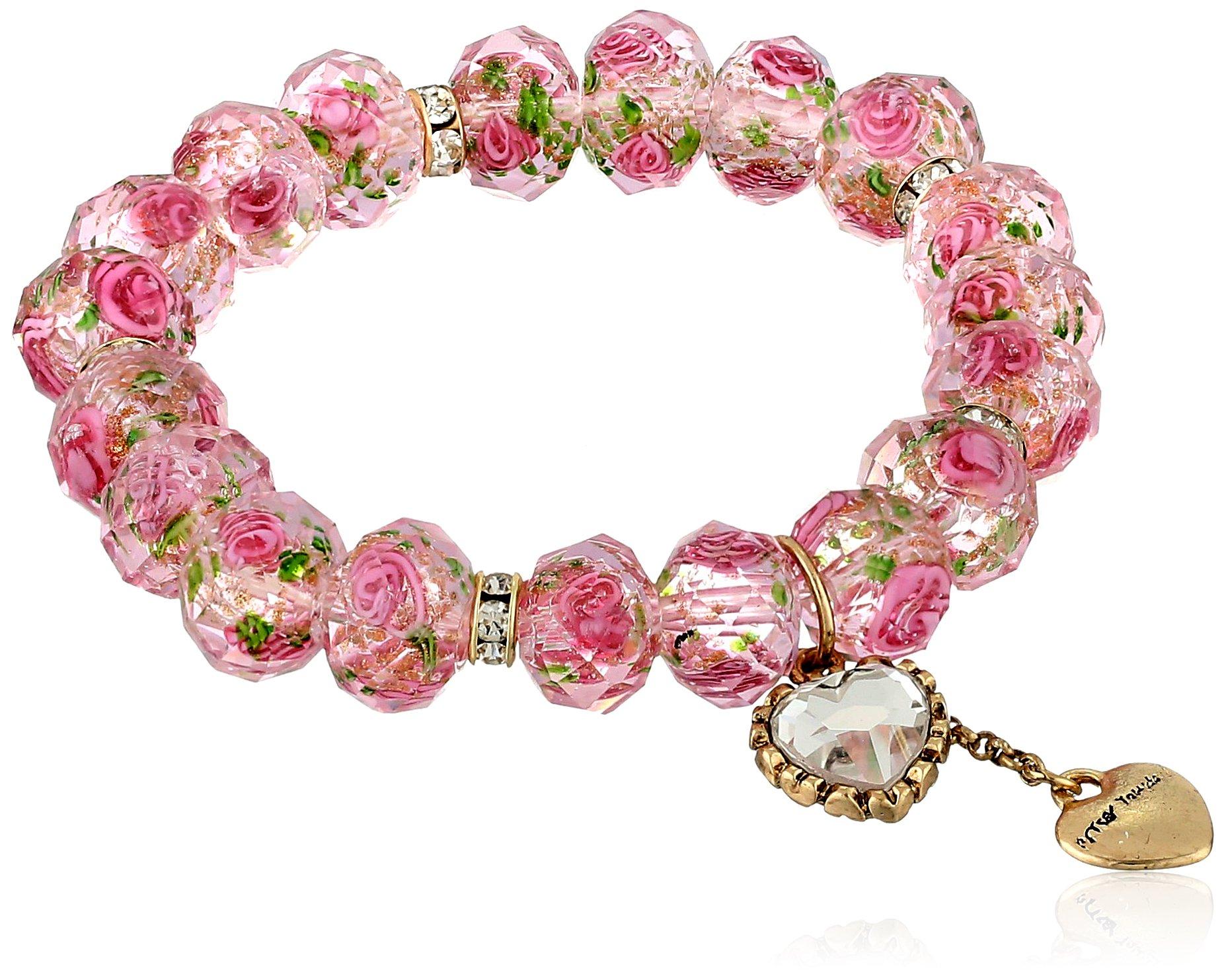 Betsey Johnson ''Tzarina Princess'' Pink Flower Bead Stretch Bracelet, 2.5'' by Betsey Johnson