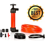 Universal 3-in-1 Multi-Purpose Hand Fuel Pump Kit - Easy & Fast Transfer Gas Diesel Petrol Oil Fluids Water Air - Manual Easy Handle Siphon - Emergency Fluid Changer Extractor - for Barrel Canister