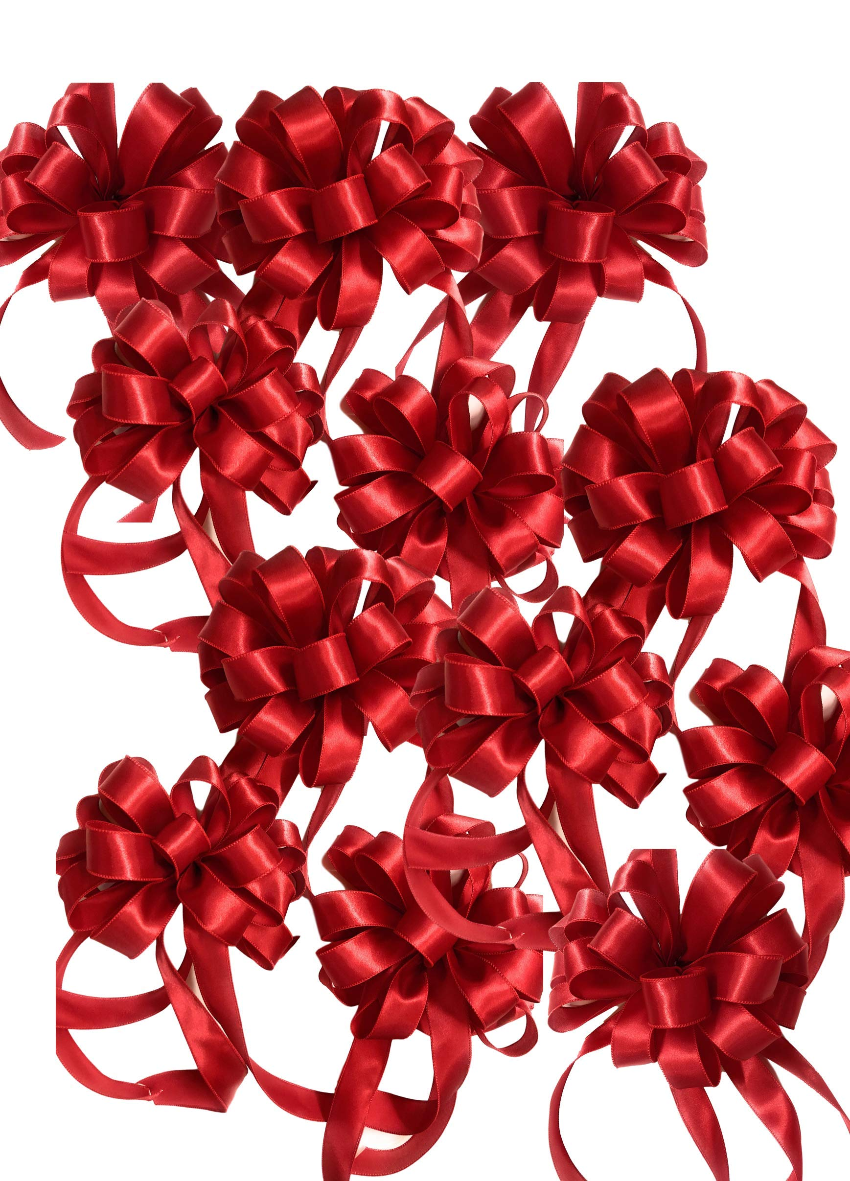 Down Home Designs 12 Pack Red Christmas Holiday Bows - Durable Indoor/Outdoor Wired 12 Loop (10inx22in)