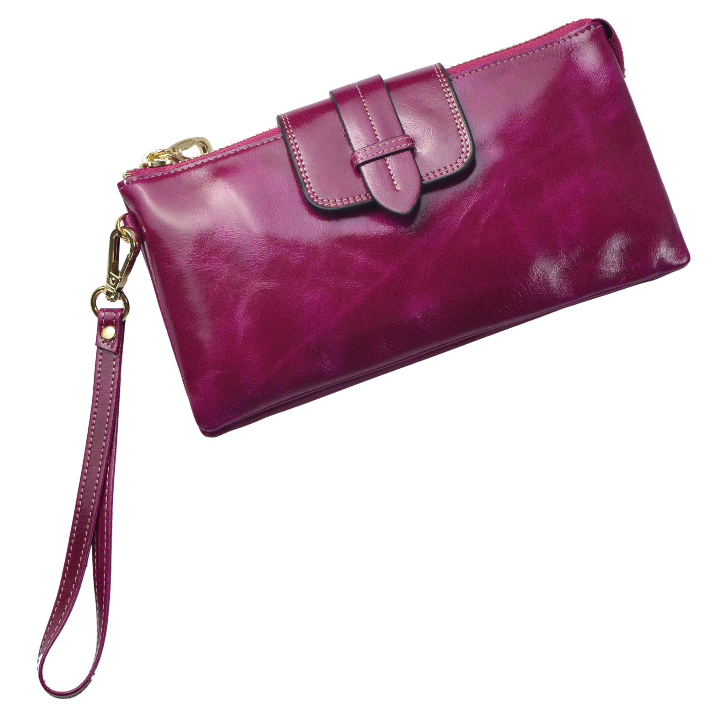 Bveyzi Women's Leather Smartphone Wristlet Clutch Wallet with Shoulder Strap (Purple)