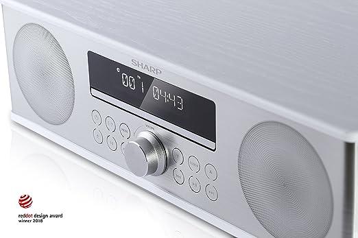 Dab+ WH Cd-Mp3 90W de Potencia Bluetooth 4.2 Sharp XL-B715 All In One Sound System con Radio Dab Fm Color Blanco Reproducci/ón Usb Carcasa de Madera y Frontal de Acero Inoxidable Cepillado