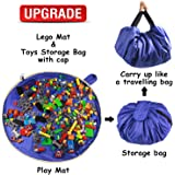 "Lego Toy Storage Mat Bag by Drawstring Lego Mat Bag - Lego Brick Storage for Kids – Portable Lego Container Storage 60"" for Children Lego Toys Organizer with Cap Like Travel Bag as Gift"