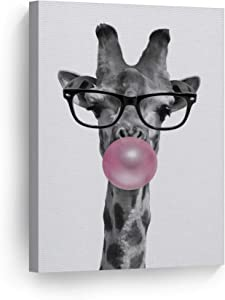 Smile Art Design Cute Giraffe with Glasses Animal Decor Bubble Gum Art Pink Canvas Print Black and White Wall Art Home Decor Nursery Room Decor Stretched Ready to Hang Made in The USA 12x8