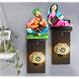 TIED RIBBONS Resin and Wood Wall Hanging Rajasthani Figurines with Tealight Hanger (Multicolour, TR-WHD2017DecOUT010)