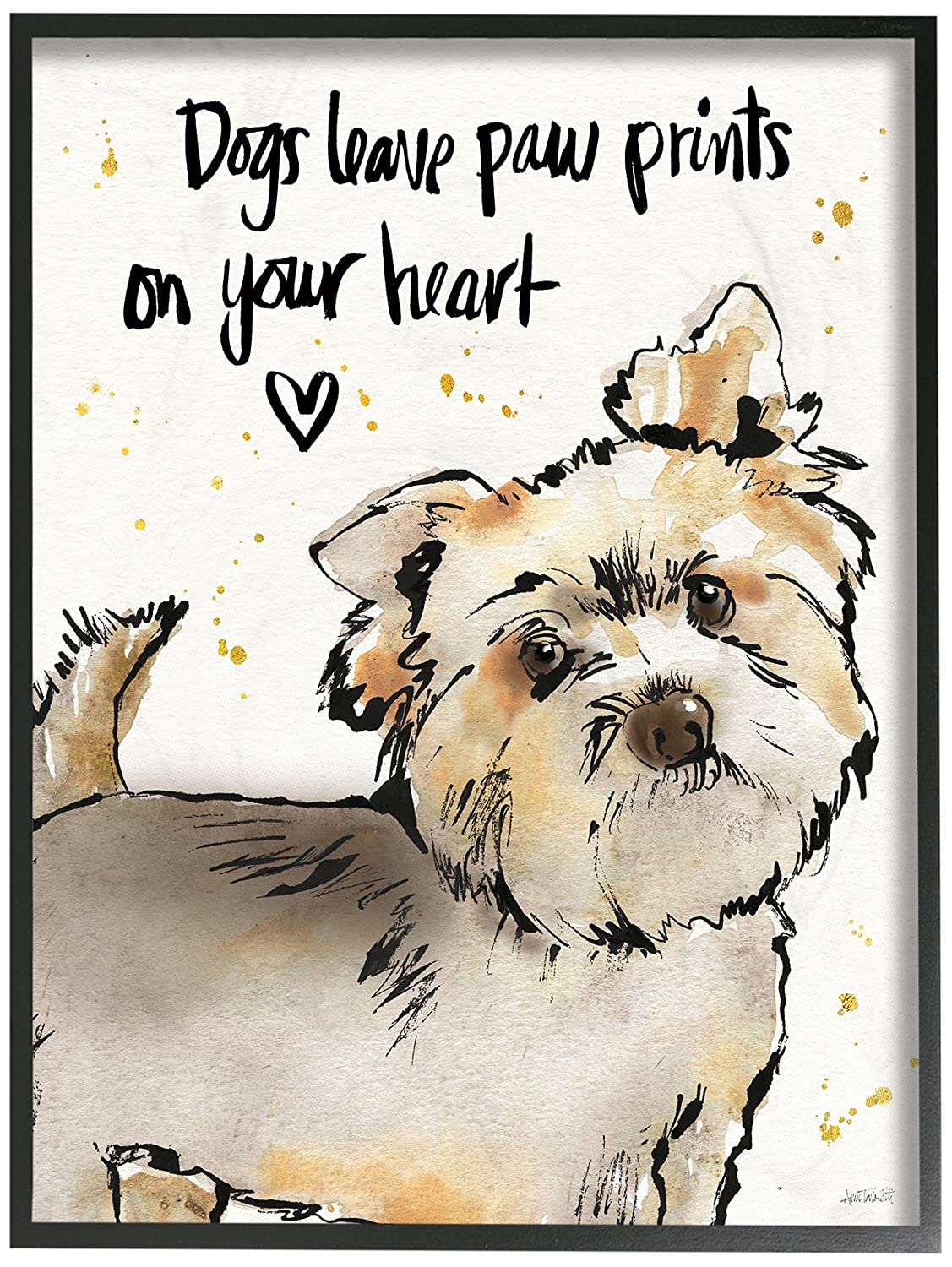 Stupell Industries Dogs Leave Paw Prints in Your Heart Oversized Wall Plaque Art Proudly Made in USA