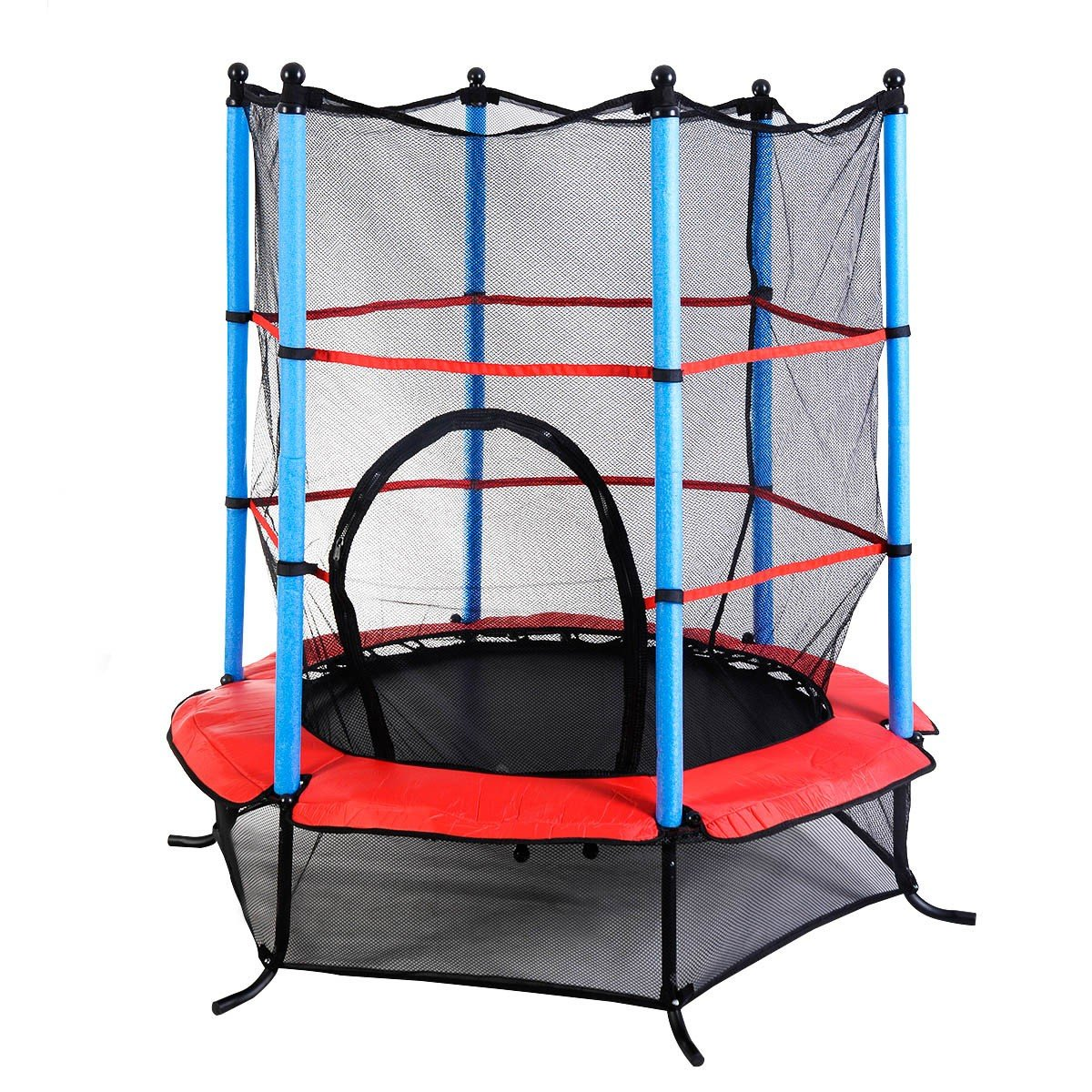 55'' Kids Jumping Trampoline with Safety Pad Enclosure Combo by Apontus
