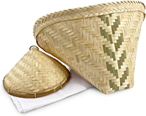 "Panwa Traditional Sticky Rice Cooking Steamer Basket (3 pc Set) - ""NATURAL SCENTED"" - Handcrafted THAI Bamboo Wing Design with Authentic Wicker Lid and Cheesecloth Wrap Included"