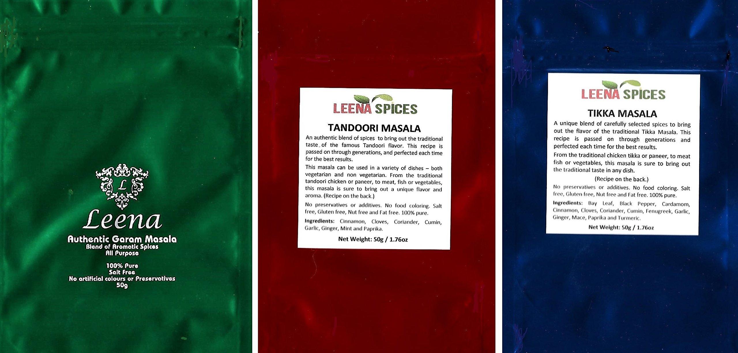 LEENA SPICES - 3 Indian Spice Pack - Garam Masala, Tandoori Powder Seasoning and Tikka Spice
