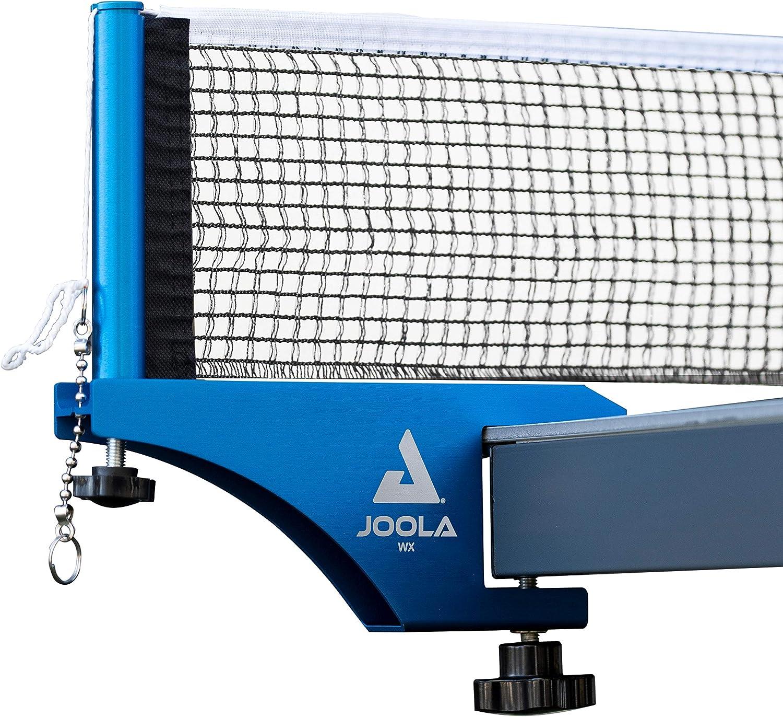 JOOLA WX - Juego de Postes de Tenis de Mesa de Aluminio de Grado Profesional para Interiores y Exteriores, configuración rápida, Red de Mezcla de algodón Reforzada, anodizado Azul, 182,88 cm