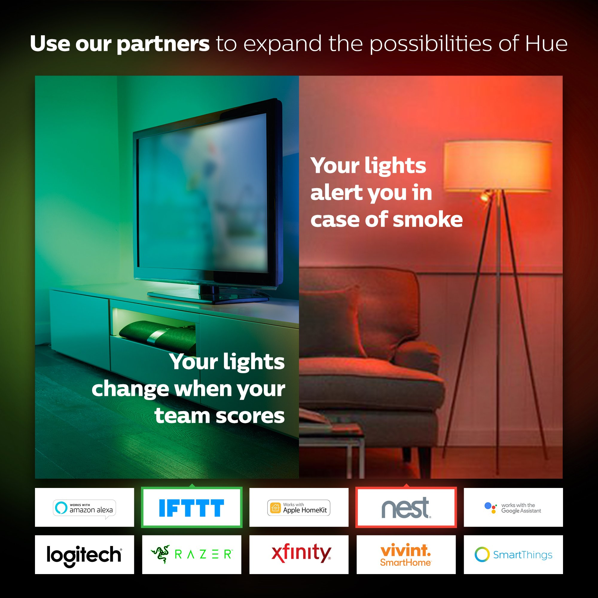 Echo (2nd Gen) - Charcoal with Philips Hue White and Color Smart Light Bulb Starter Kit