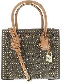 b01a2ce40e31 Amazon.com: Michael Kors Carolyn Small Cross Body Tote Bag Brown PVC ...
