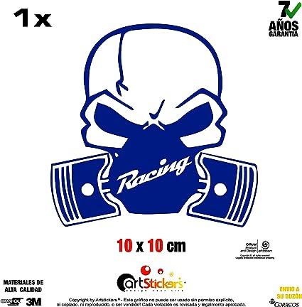 Artstickers Adhesivo de Vinilo Calavera Toxic Racing 10 x 10 cm Azul Oscuro. Pegatina para Coche Pegatina para portatil. 1 Unidad (15 Colores a Elegir), Vinilo Regalo 1 Pegatina SPILARTS® ARM30: Amazon.es: Coche y moto