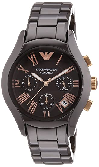 Emporio Armani Ceramica - Reloj (Reloj de pulsera, Femenino, Cerámico, Marrón,