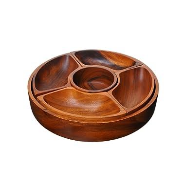 BirdRock Home 5 Section Wood Chip and Dip Bowl Set | Acacia Wood