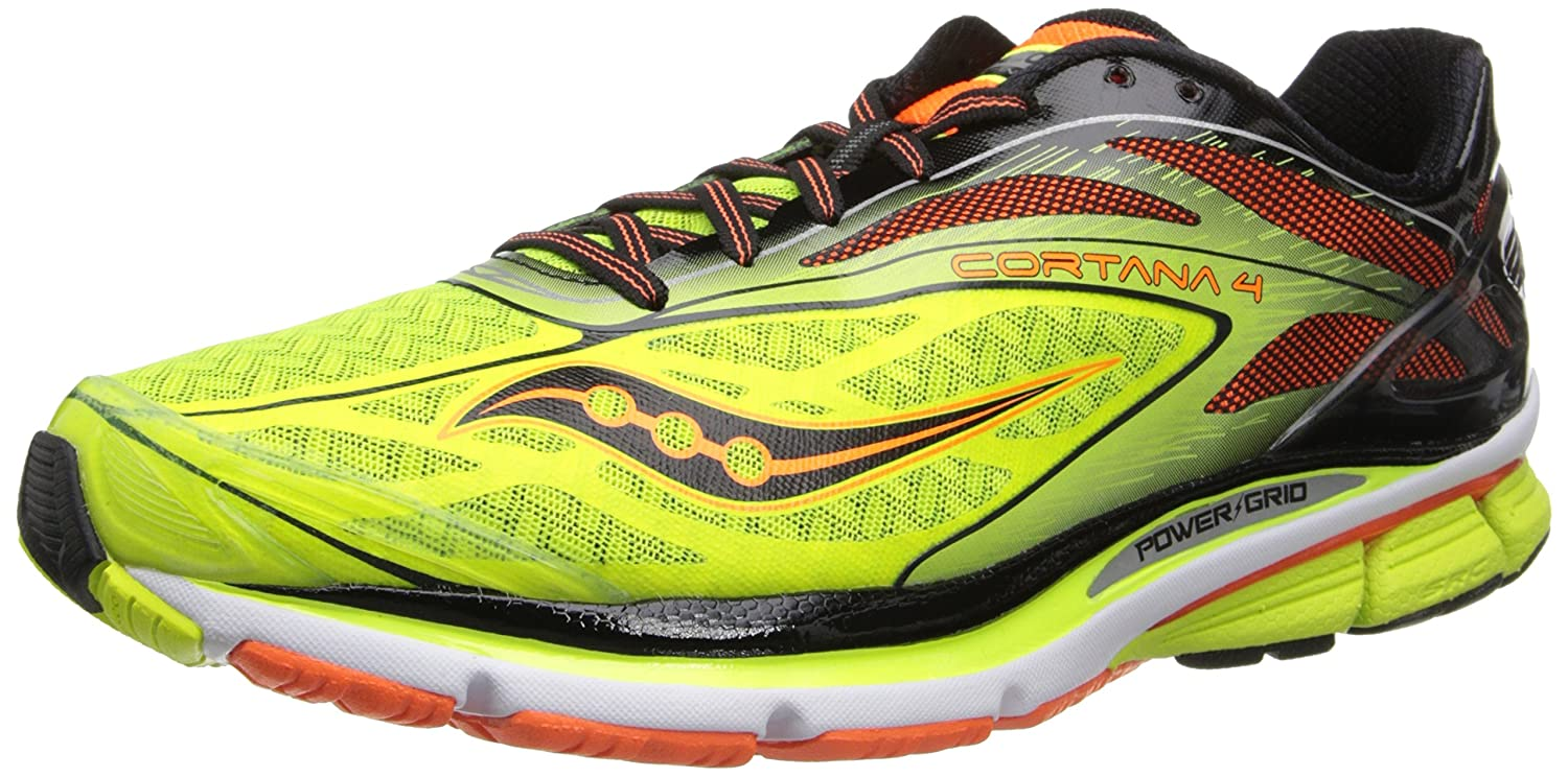 Saucony Men's Cortana 4 Running Shoe B00GUFYD4I 12.5 D(M) US|Citron/Orange/Black
