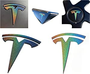 Custom Cut Graphics Tesla Model 3 Logo Decal Wrap (Gloss Flip Psychedelic - Silver/Rainbow)