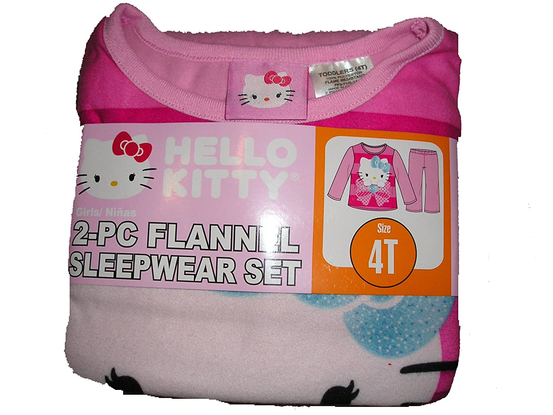 4T, Pink Hello Kitty Toddler Girls Flannel Sleepwear Set