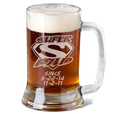 amazon com 16 oz super dad personalized glass beer mug stein gift