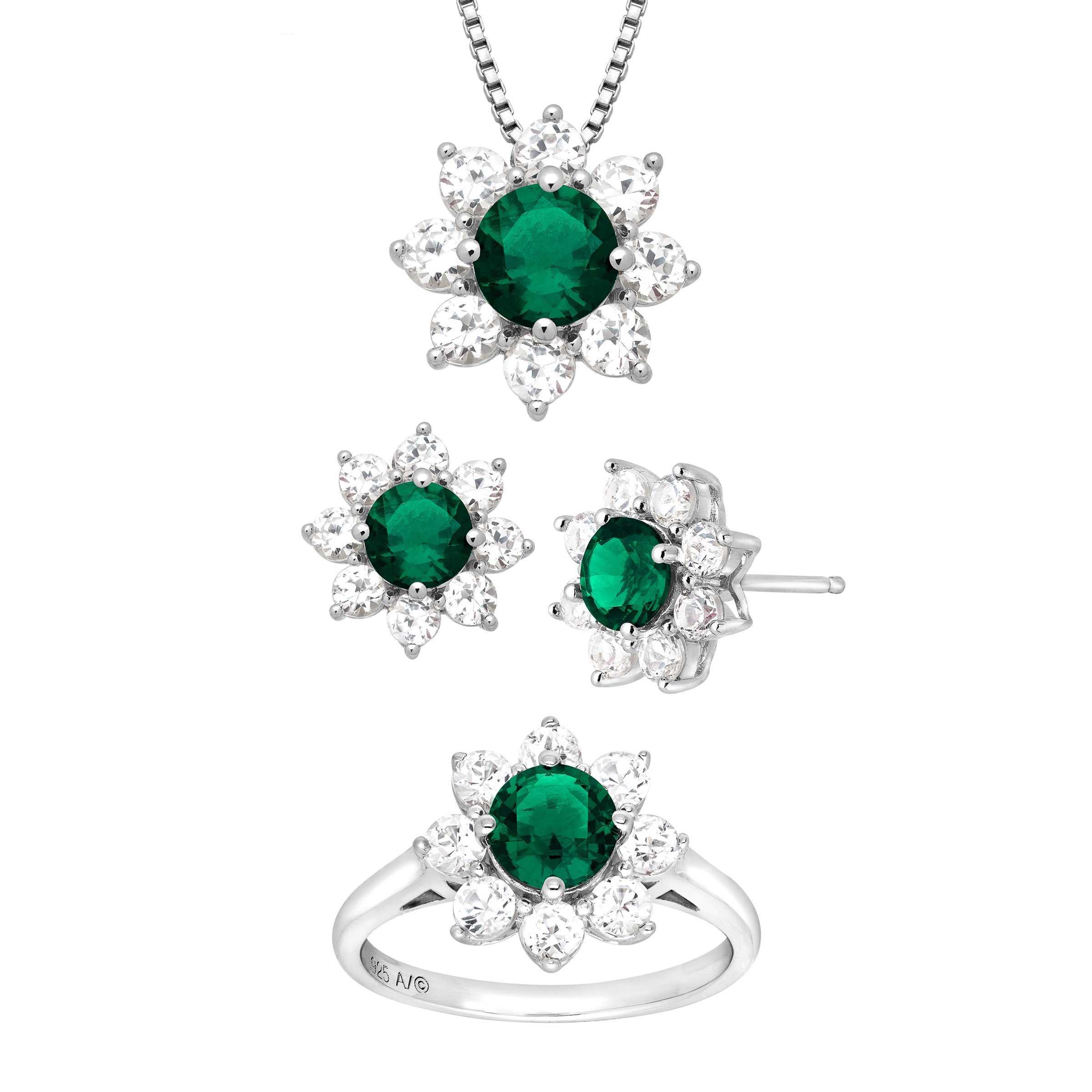 5 7/8 ct Created Emerald & White Sapphire Flower Pendant, Ring & Earring Set in Sterling Silver