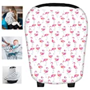 Multi-Use Flamingos Milk Yarn Nursing Breastfeeding Cover Baby Car Set Cover Canopy Shopping Cart Cover Swaddle Blanket for Infants Newborns Toddlers Shower Gift