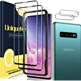 [2+2 Pack] UniqueMe Compatible for Samsung Galaxy S10 Plus/S10+ Tempered Glass Screen Protector and Camera Lens Protector (No