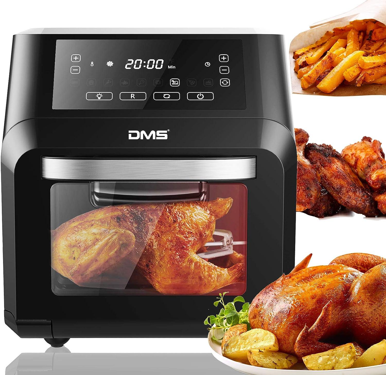 DMS® XXXL - Freidora de aire caliente de 12 litros, freidora, deshidratador, horno, parrilla de aire caliente, sin grasa, asador giratorio, rotador giratorio de 1800 W, 9 programas, pantalla táctil digital, sin