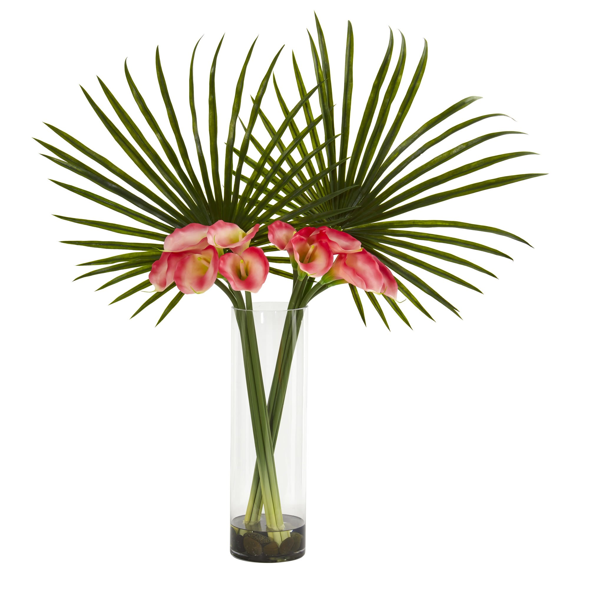 Nearly Natural 1543-PK Fan Palm and Calla Lily Arrangement Artificial Plant Pink by Nearly Natural
