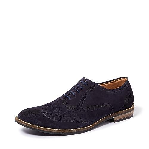 c2ebbfb9f836b Amazon Brand - Symbol Men s Navy Leather suede Brogue Shoes - 10 UK India (