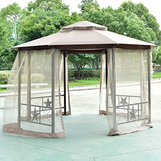 Tangkula Gazebo Octogonal de 2-Tier 12, 5 ft al Aire Libre Patio ...