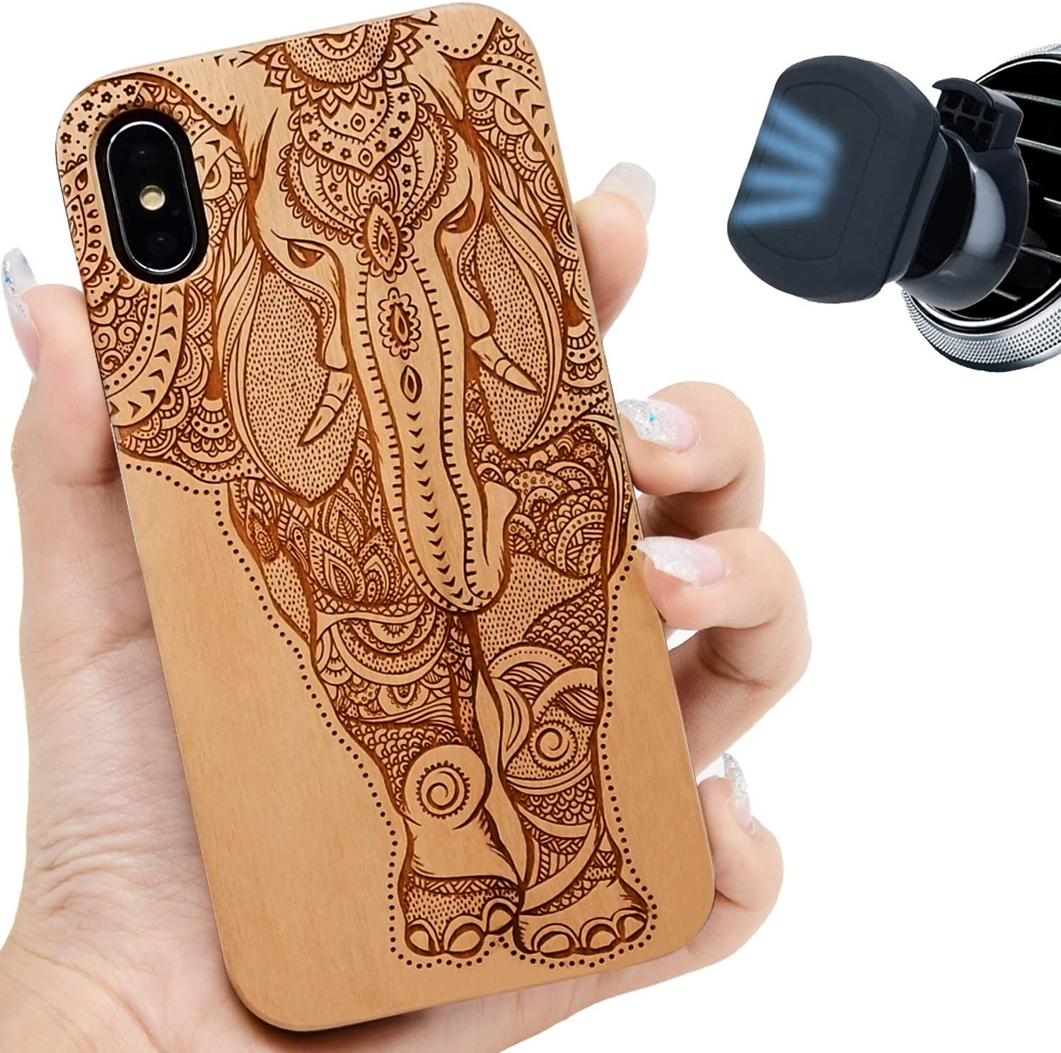 "iProductsUS Elephant Wood Phone Case Compatible with iPhone Xs, X (10) and Magnetic Mount, Engraved in USA, Built-in Metal Plate, TPU Protective Shockproof Cover (5.8"")"