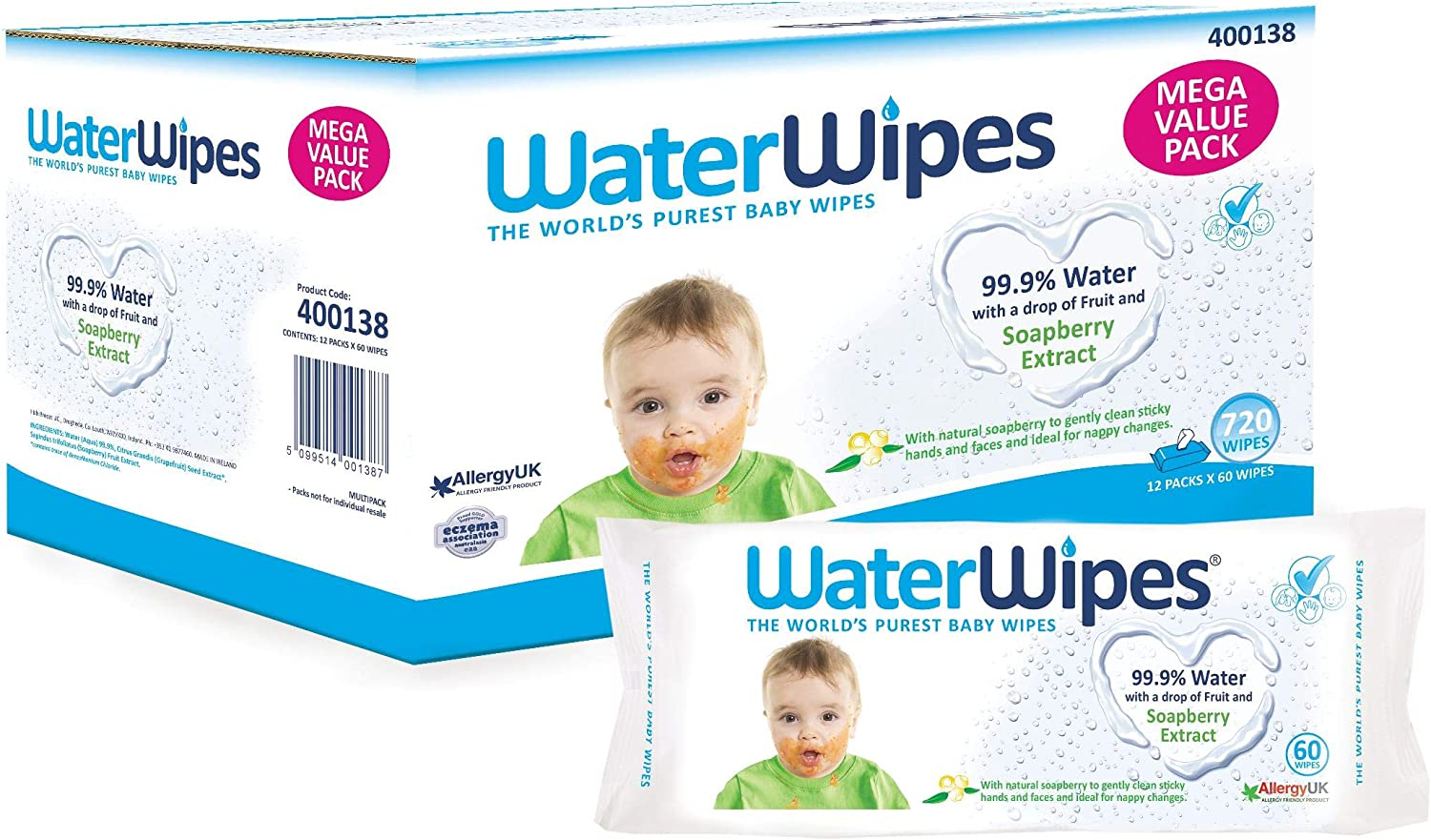 12 Packs of 60 Count WaterWipes Sensitive Baby Wipes 720 Count Free Shipping